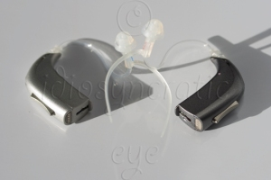 Two New Digital Hearing Aids, Silver and Steel Grey with Cords