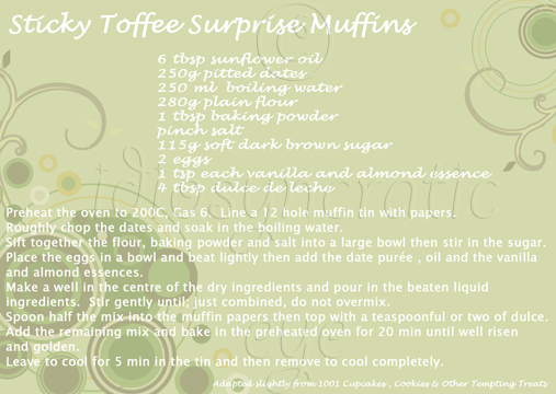 Sticky Toffee Surprise Muffins (Recipe Card)
