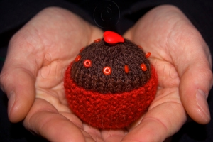 Knitted Chocolate Cupcake with Red Case and Beads