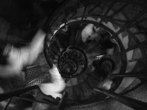 Busy Dark Spiral Staircase