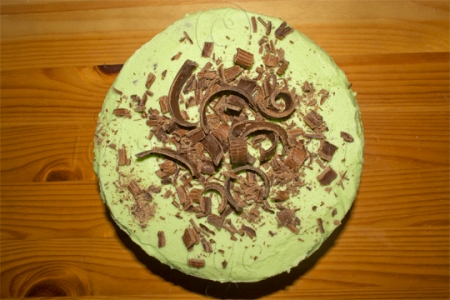 Green Buttercream Iced Chocolate Cake with Chocolate Curls
