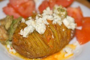 Buffalo Hasselback Potato with Salad