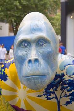 Cold Blue Stare - Face of a Painted Gorilla Sculpture