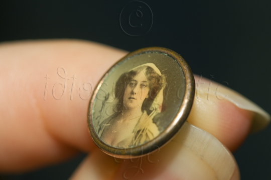 Tiny Metal Button with a Portrait of a Lady