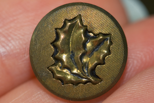 Metal Button with Three Holly-Style Leaves
