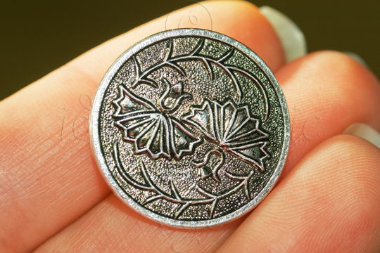 Silver-coloured button with leaf design